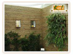 Painel para jardim vertical em bambu na cor natural
