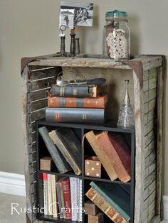old crate bookcase - decorating with junk ideas