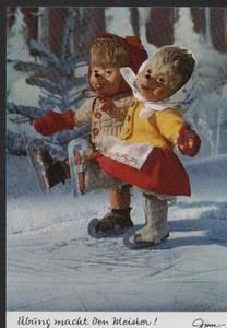 AK Mecki original Diehl Nr. 366 neu ungelaufen Schlittschuh laufen Eis Winter