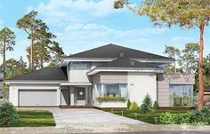 Projekt domu piętrowego Prestiżowy o pow. 402,65 m2 z obszernym garażem, z dachem wielospadowym, z ogrodem zimowym, z tarasem, z antresolą, sprawdź! Bungalows, Architectural House Plans, Home Fashion, My Dream Home, Garage Doors, Outdoor Structures, Mansions, Architecture, House Styles