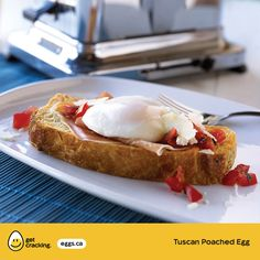 Tuscan Poached Egg   Eggs.ca   #GetCracking #Eggs #Poached Best friends, ham and eggs, together on a slice of toasted focaccia bread. Top with bruschetta and grated Parmesan cheese. 'Bueno'!