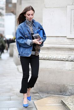 70 Amazing London Street-Style Snaps #refinery29  http://www.refinery29.com/london-fashion-week-street-style#slide23  Nothing beats the simple elegance of a denim jacket.