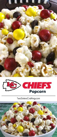 Kansas City Chiefs Popcorn for those Kansas City Chiefs fans in your life. Sweet, salty, crunchy and delicious and it is extremely easy to make. This delicious popcorn will be perfect at your next game day football party. an NFL playoff party or a Super Bowl party. Follow us for more fun Super Bowl Food Ideas.