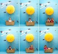 Kids Hot Air Balloon Photobooth DIY. I love this idea just for a photo session in general. It would also be a great backdrop for spring photos sans bunny (or pop a real bunny in the basket if you have a friend with one). Im confident that even my 3 y-o kiddo would fit in this basket since its a nice size. Awesome!