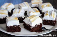 Devil's food cake i langpanne med gyllen marengs - Oppskrift - Godt. Devils Food, Food Cakes, Baking Cakes, Gluten Free Cookies, No Bake Cake, Cake Recipes, Recipies, Cheesecake, Goodies
