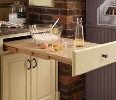 Extra counter space! That's Genius! Love this idea! Perfect for small spaces!