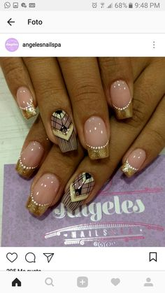 Manicure Nail Designs, Nail Manicure, Nail Art Designs, Love Nails, Fun Nails, Nail Art Paillette, Glamour Nails, Nail Tattoo, French Tip Nails