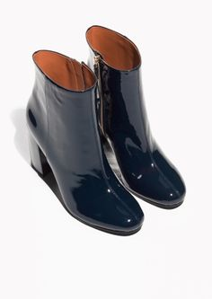& Other Stories image 2 of Lacquer Leather Boots in Blue- different to patent leather
