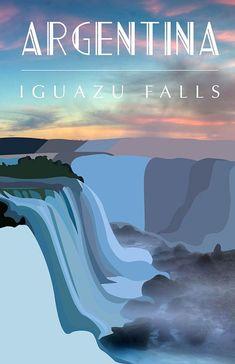 Iguaza Falls, Argentina #Vintagetravelposters