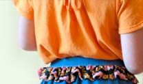 Mango daisy tee paired with denim dandy skirt. Floral peplum