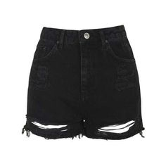 TopShop Tall Moto Ripped Mom Shorts (1.690 UYU) ❤ liked on Polyvore featuring shorts, high-waisted denim shorts, ripped denim shorts, denim shorts, high-waisted shorts and jean shorts