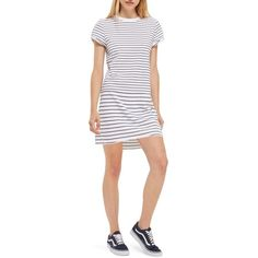 Petite Women's Topshop Stripe Roll Sleeve T-Shirt Dress (51 CAD) ❤ liked on Polyvore featuring dresses, navy blue multi, petite, striped t-shirt dresses, white striped dress, cotton jersey, petite white dresses and petite dresses