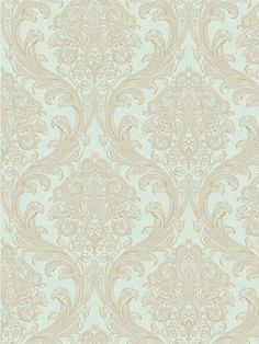 Go for a subtle damask look with this blue and brown wallpaper from Gentle Manor. Available at AmericanBlinds.com #wallcovering