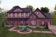 House Plan 92391 | Craftsman Plan with 2697 Sq. Ft., 4 Bedrooms, 5 Bathrooms, 3 Car Garage at family home plans