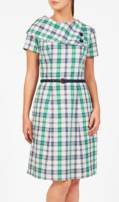 eShakti Asymmetric collar check dress