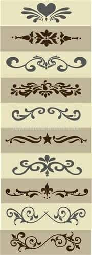 Stencils for crafts Silhouette Cameo, Silhouette Projects, Stencil Patterns, Stencil Designs, Motif Arabesque, Decoupage, Stencils, Diy And Crafts, Arts And Crafts