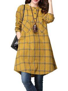 Casual Check Plaid A Line Pocket Vintage Long Sleeve Women Dress