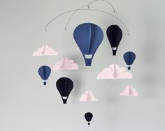 Simple Hot Air Balloon Paper Mobile David by HushHoneyCollective