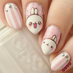 Adorable Easter Nail Art Designs You Must Try Easter nails; Egg And Bunny Nail Art Designs; Kawaii Nail Art, Cute Nail Art, Cute Acrylic Nails, Cute Nails, Pretty Nails, My Nails, Nail Designs Spring, Cute Nail Designs, Pretty Designs