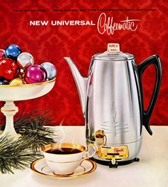 Plan59 :: Retro Vintage 1950s Christmas Ads and Holiday Art :: Universal Coffeematic, 1959