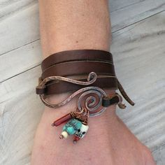 Leather Wrap Bracelet Tan Suede Hammered Copper by GypsyIntent