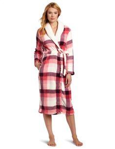 Dearfoams Women`s Sherpa Shawl Printed Long Robe $21.95