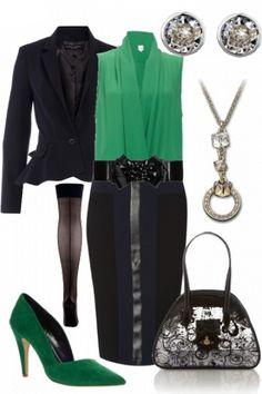 Negro  blusa de gasa Verde