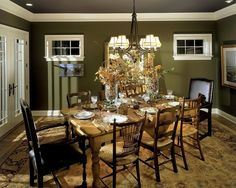 Dining Room: A Perfect Holiday Dining Space With A Shade Of Green Wall Coupled With Gold Potted Decorarion And Vintage Area Rug: Fabulous Green Dining Room Design Ideas