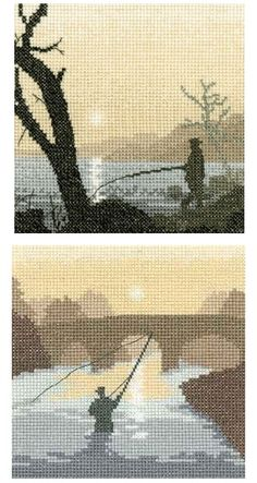 Gone Fishing and The Angler - Fishing Cross Stitch set of 2