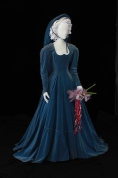 """""""Heavenly"""" blue cotton velveteen wedding gown, worn by Mrs. Rueby Maeker of Lubbock, Texas, 1948. Ethnology and Textiles Blog 