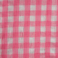 Vintage Crepe Fashion Fabric, Large Gingham Pink and White, Lightweight Cotton Muslin, 5-1/2 yards, 1.13-lb B1 by DartingDogFabric on Etsy