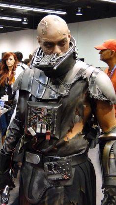 Battle-damaged Vader cosplay.