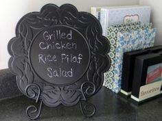 plate + chalk board paint.  Should do this for my kids who keep asking me what's for dinner as soon as they walk in the door!
