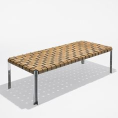 natural woven leather bench daybed with chrome base by katavolos for