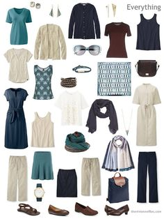 a sixteen-piece summer travel capsule wardrobe in navy, beige, teal and brown