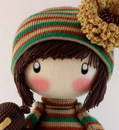 Handmade Doll Zooey brown with bear cloth por DollsLittleAngels