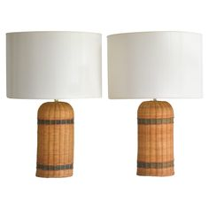 Pair of Mid-Century Woven Reed Table Lamps | From a unique collection of antique…