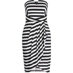 Shop Women's Plus Size Women's Plus Size Dress | City Chic USA ($139) ❤ liked on Polyvore featuring dresses, bone dress, cut out dresses, cutout dresses, plus size striped dress and strapless dresses