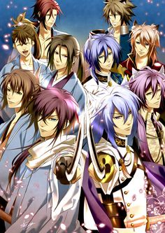 Ok... I can recognize the Hakuoki characters but from which anime/game is the group on the right?