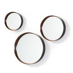 Conjunto 3 espelhos em metal cobre Set of 3 mirrors in copper metal MER Copper Metal, Hoop Earrings, Mirror, Sort, Design, House, Products, Couch Table, Diy Creative Ideas
