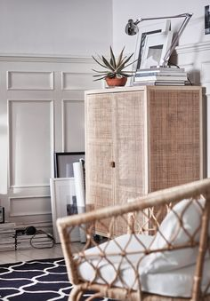 OK, so this rattan cabinet is my stand out piece from the new IKEA STOCKHOLM 2017 collection. I LOVE it. It's the perfect piece of furniture to bring texture and warmth into a room. The combination of rattan and ash has a beautiful light finish that doesn't feel at all heavy or imposing. Wouldn't this is perfect in a coastal cottage?