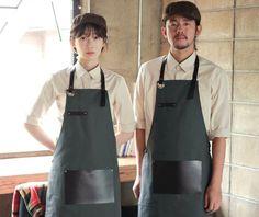 BEST ITEMS - a.mont Cafe Uniform, Waiter Uniform, Corset Sewing Pattern, Rare Clothing, Restaurant Uniforms, Leather Apron, Cow Leather, Aprons For Men, Uniform Design