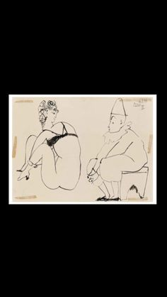 "Pablo Picasso -"" Femme et clown  "", 6 I 1954 -Pen and India ink on paper - 24 x 32 cm (*) (..)"