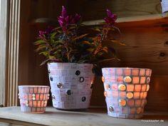 Windlicht rosa weiß 16 cm hoch - Mosaikkasten