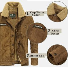 AFSJEEP Plus Size Outdoor Casual Double Chest Pockets Thicken Warm Jacket for Men