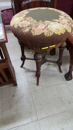 Padded swivel dressing table stool