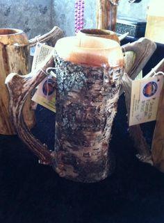 Birch beer stein with antler handle