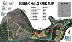 If you are looking for a map on what to do once you arrive at Turner Falls Park then here is a good map for you to study. Oklahoma Cabins, Oklahoma Usa, Travel Oklahoma, Kansas, Cheap Family Vacations, Vacations To Go, Vacation Trips, Vacation Ideas, Turner Falls Cabins