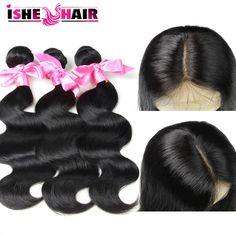 3pcs malaysian virgin hair with closure malaysiain body wave hair bundles with lace closures 100% human hair with closure US $78.62