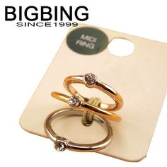 Bigbing jewelry fashion Silver Golden crystal ring set 3 rings female personality ring wholesale accessories TL391